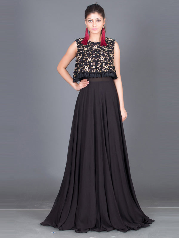 Fluer - Black Embroided Cape Gown
