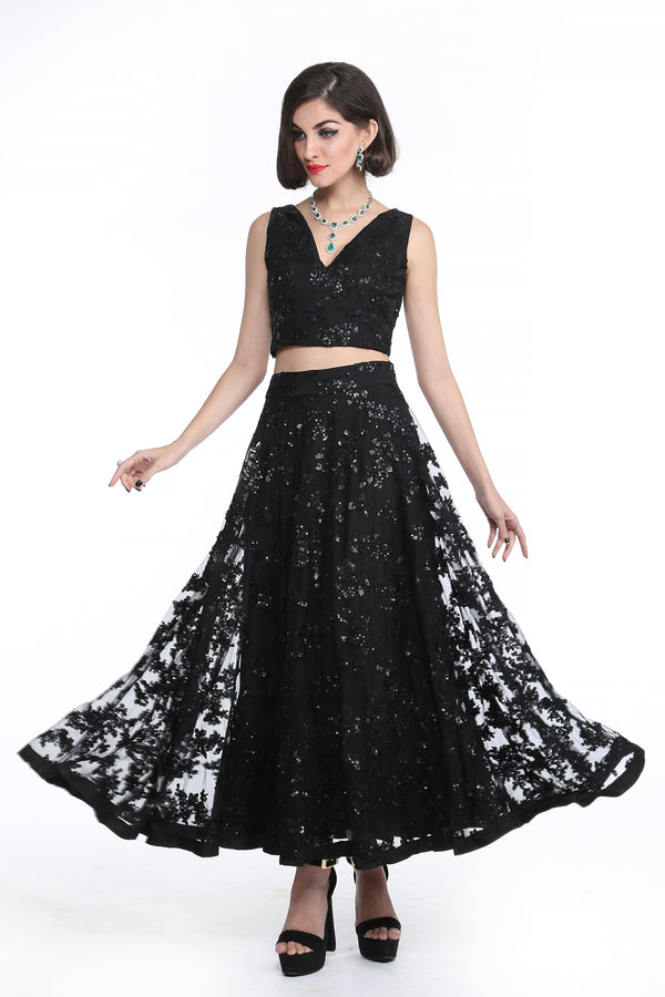 Marilyn - Embroidered Crop top and Middy Skirt