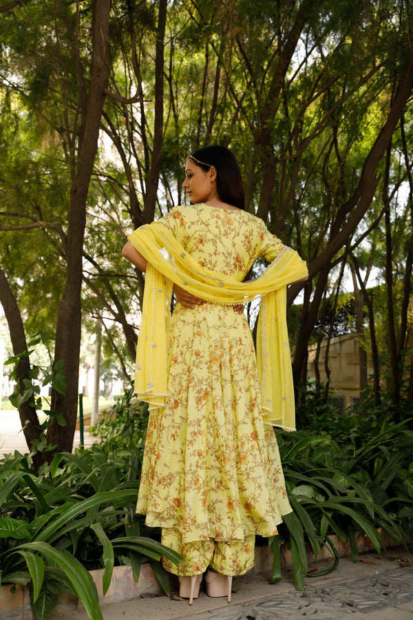 Nuna 2.0 - Yellow Printed Ankharkha Anarkali Set