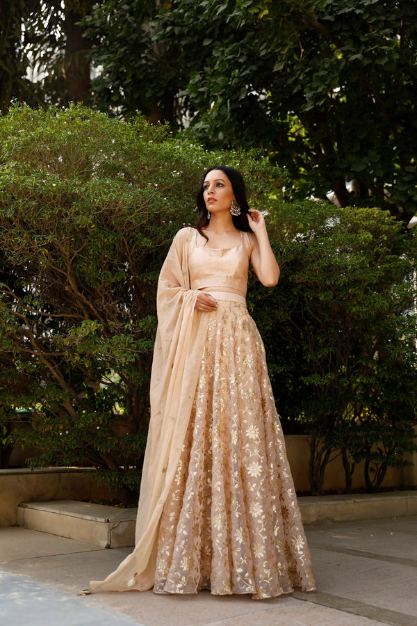 Nuna 2.0 - Champagne Embroided Lehnga Set