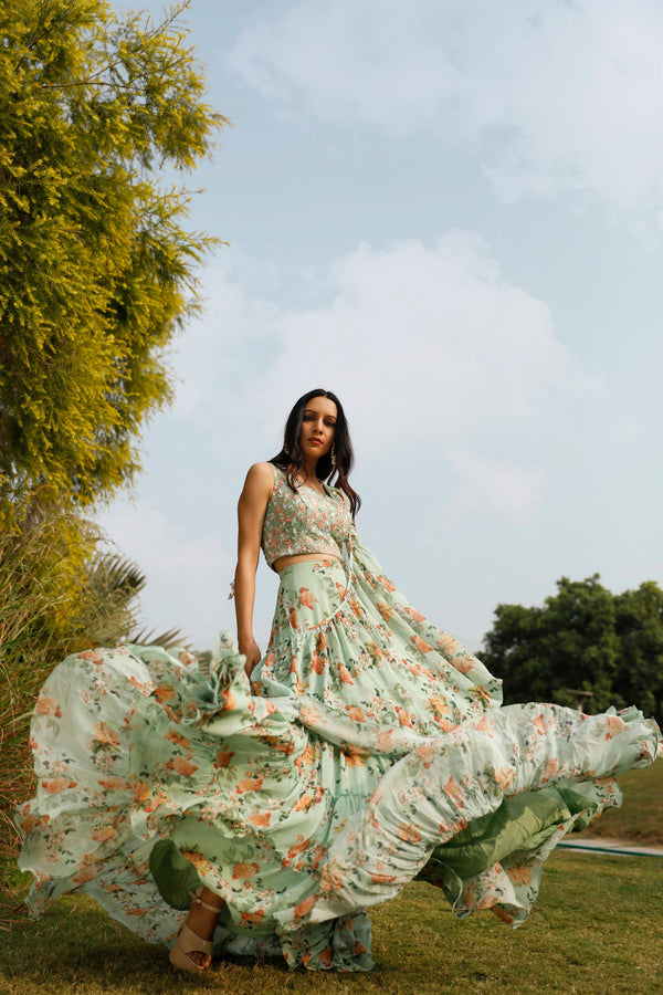 Nuna 2.0 - Mint Green Printed Ruffle Lehnga Sari Set