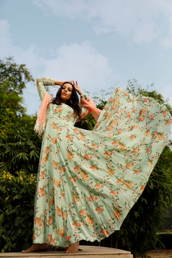 Nuna 2.0 - Mint Green Printed Anarkali Set