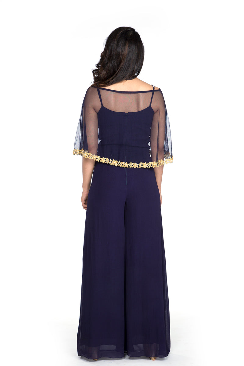 Sania - Midnight Blue Jumpsuit with Cape