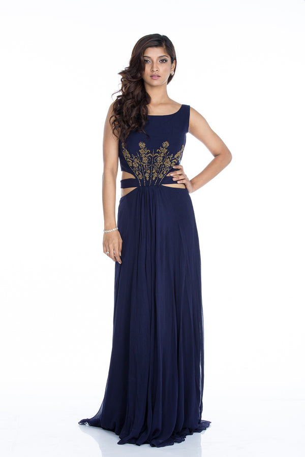 Sania - Embroided Cutout waist Maxi Dress
