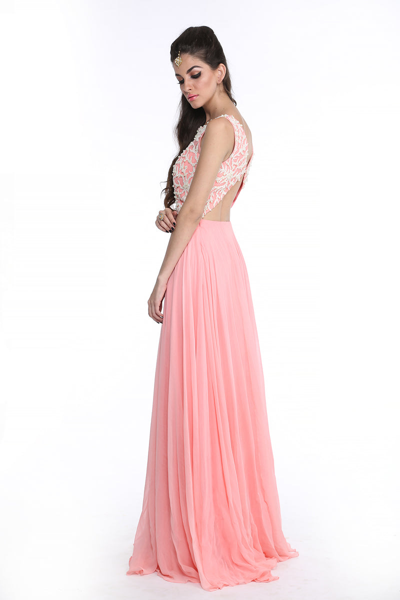 Shanaya - Baby Pink Pearl Embroided Gown