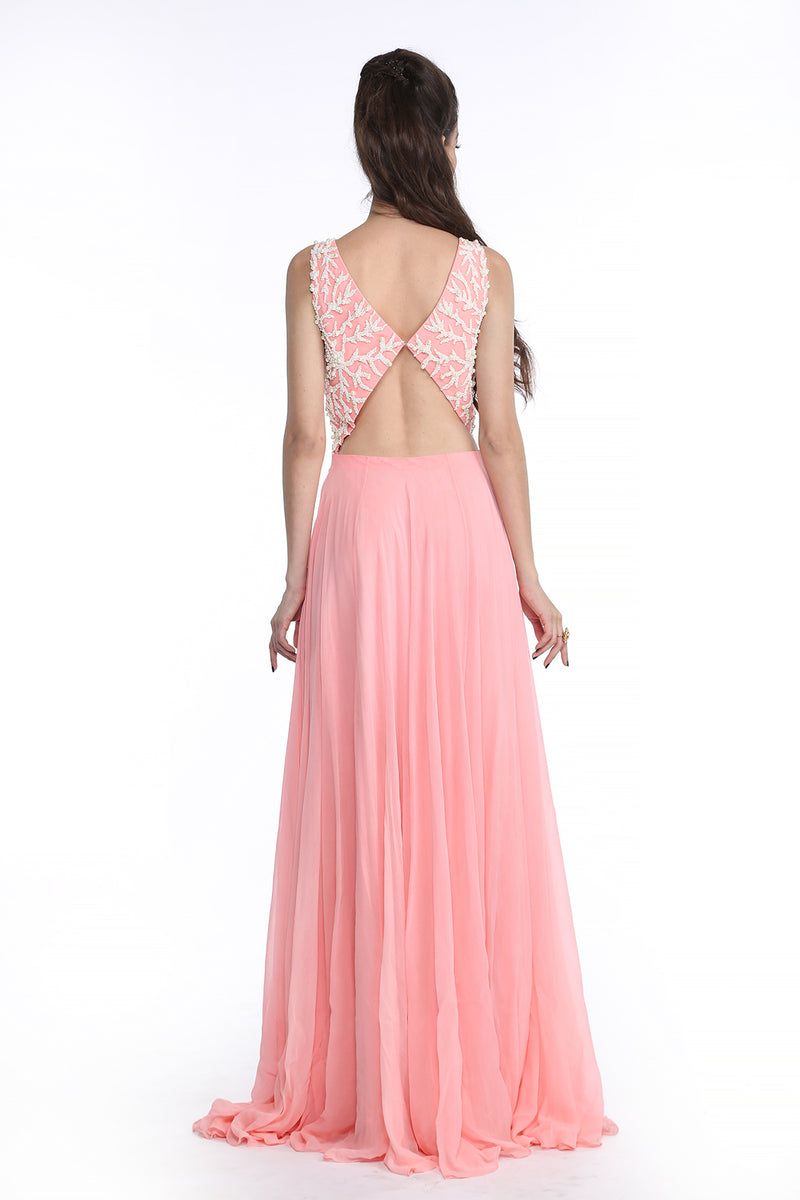 Shanaya - Baby Pink Pearl Embroidered Gown