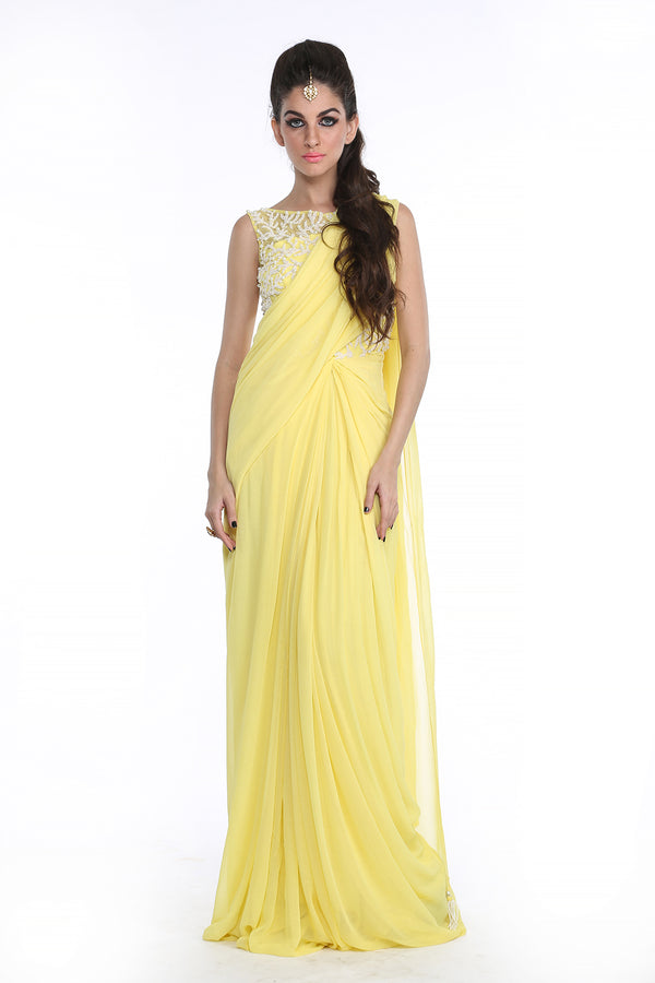 Shanaya - Yellow Pearl Embroided Sari Gown