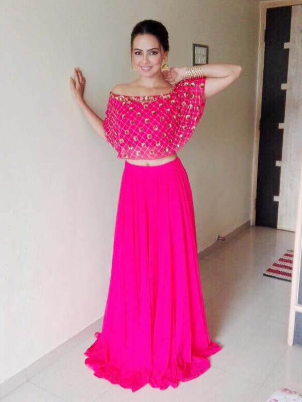 Sana Khaan in ELSA Pink Crop Top and Skirt