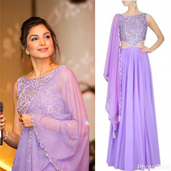 Monica Gill in ELSA Lilac Cut out Gown