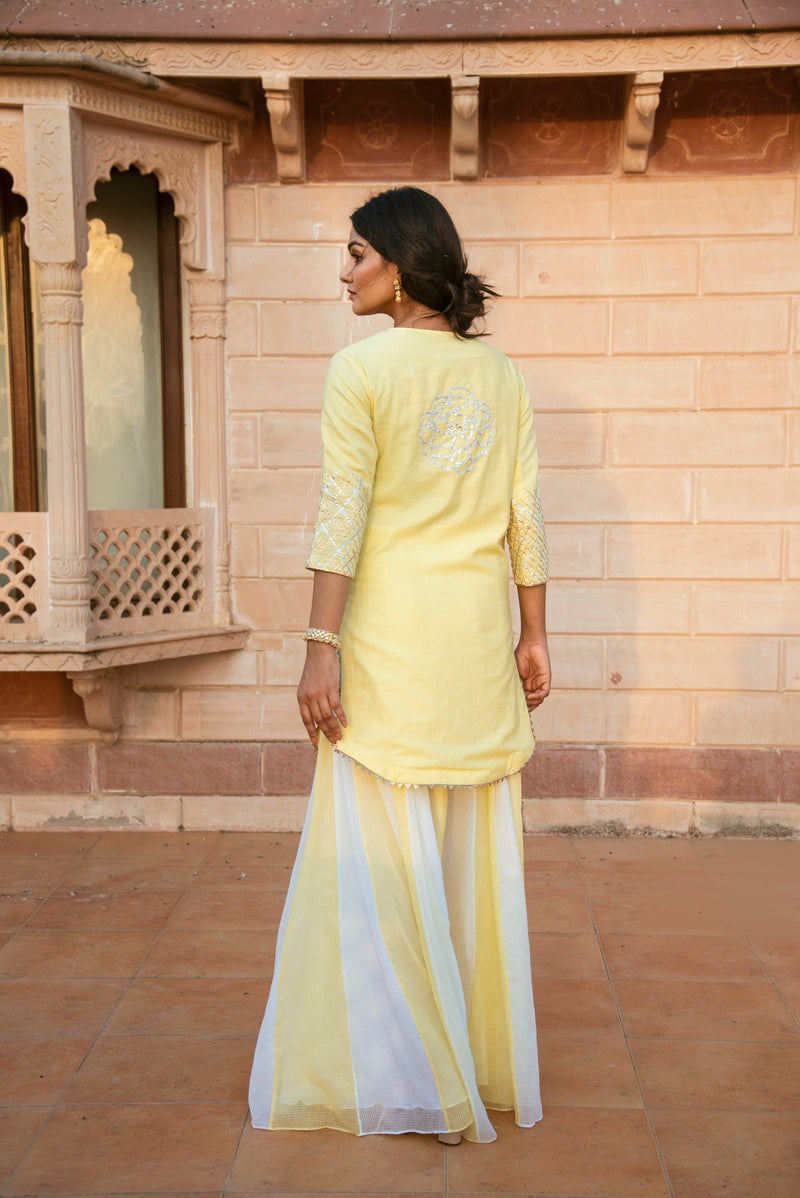 Ray Of Hope - Sana Khan in Sunshine Yellow and White shaded Sharara Set