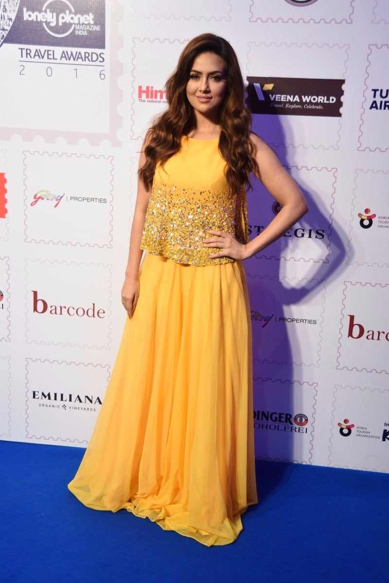 Sana Khan in ELSA Mango Tunic and Sharara