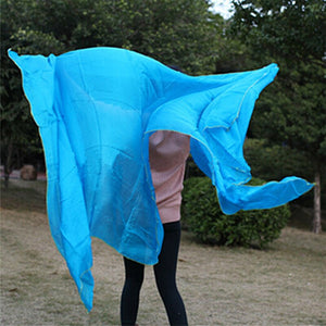 New Arrival 100% real silk square belly dance veil tari perut kostum veil wholesale 250*114 cm Solid color