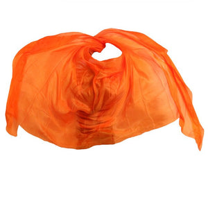 2018 design 100% real silk belly dance veil, cheap dance veils,tari perut kostum veil wholesale 250*114cm Orange Solid 5 color