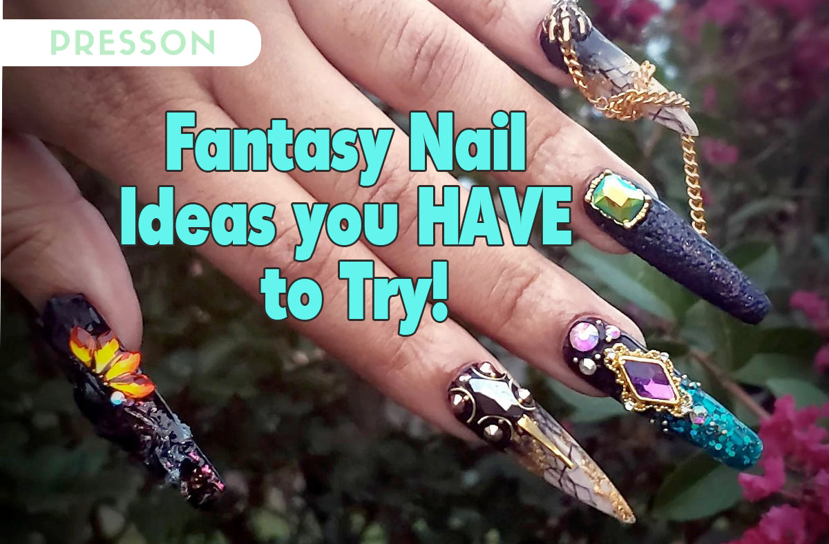 woman posing with fantasy press on nails on her hand