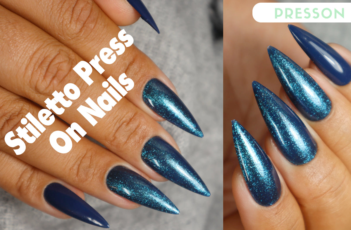 woman hands wearing stiletto press on nails from pressonshop.com