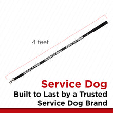 Load image into Gallery viewer, Service Dog Leash with Neoprene Handle and Reflective Silk-Screen Print in Red or Black, by Industrial Puppy