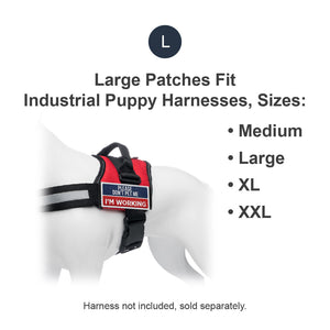 Industrial Puppy Do Not Pet Patch - Attachable Service Dog Patch with Hook and Loop Backing for Do Not Pet Dog Vest Harness or Collar - Embroidered Do Not Pet Service Dog Patches for Working Dogs