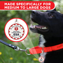 Load image into Gallery viewer, Industrial Puppy Emotional Support Dog Tag, 2 Pack: Metal Pet ID Tags for Emotional Support Dogs, ESA, and Therapy Dogs, 1/1.25 Inch Diameter, Double Sided, Navy Lettering and Red Enamel Trim