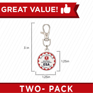 Industrial Puppy Emotional Support Dog Tag, 2 Pack: Metal Pet ID Tags for Emotional Support Dogs, ESA, and Therapy Dogs, 1/1.25 Inch Diameter, Double Sided, Navy Lettering and Red Enamel Trim