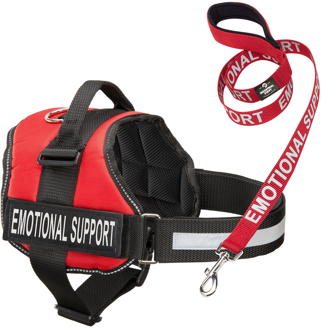 Service Dog Vest Harness with EMOTIONAL SUPPORT Patches and Matching Leash, Emotional Support Animal Vest and Matching Leash Set, by Industrial Puppy