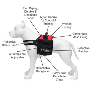 Industrial Puppy Service Dog In Training Vest With Hook and Loop Straps and Detachable Backpacks - Animal Vests From M - XXL - Service Dog Harness with Reflective Patch and Comfortable Mesh Design