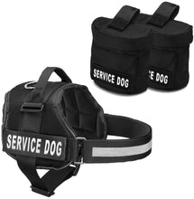 "Load image into Gallery viewer, Service Dog Harness w/ 2 Removable Saddle Bags PLUS 4 ""SERVICE DOG"" Velcro Patches, Service Animal Vest & Dog Pack Carrier by Industrial Puppy"