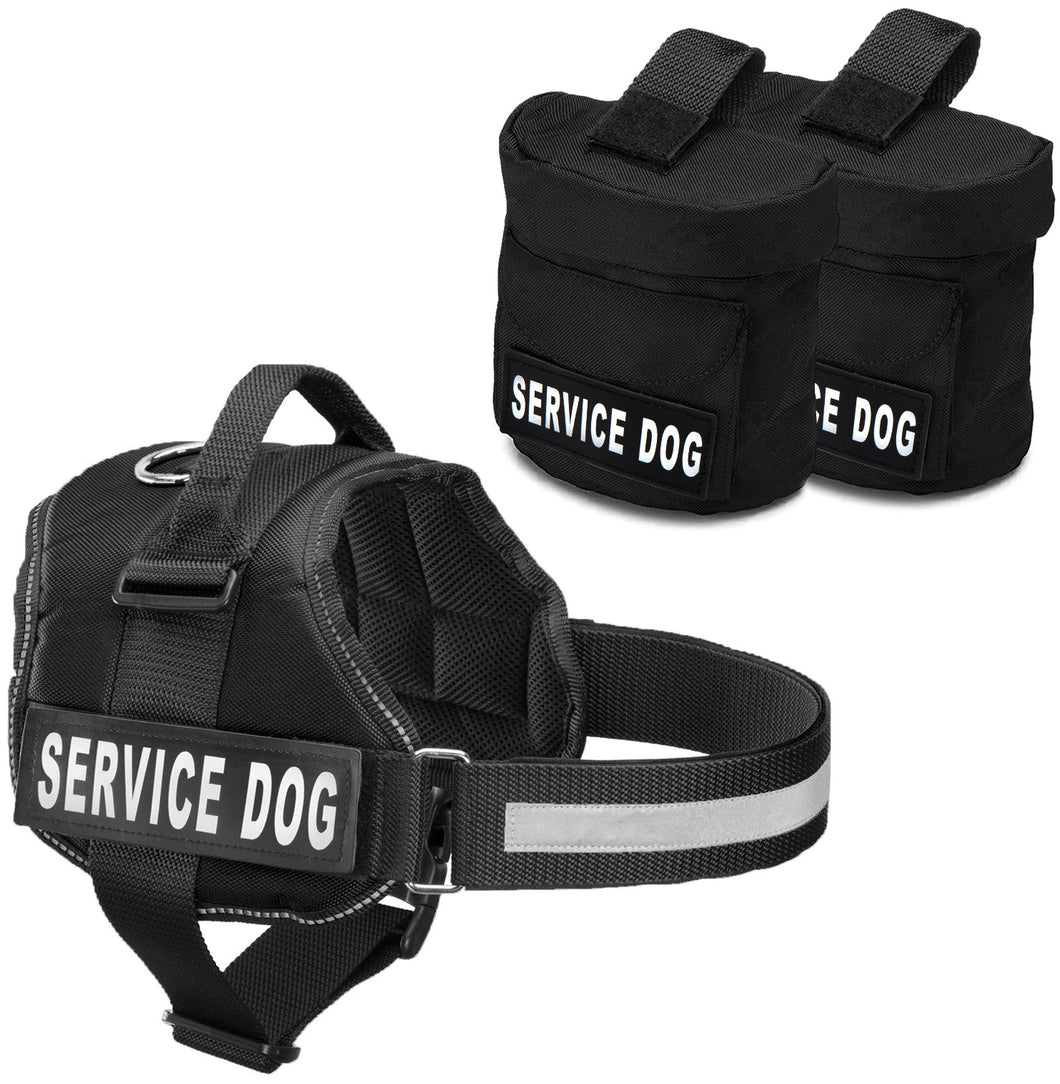 Service Dog Harness w/ 2 Removable Saddle Bags PLUS 4
