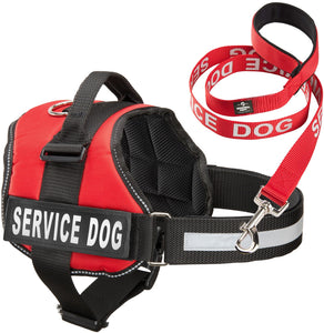 "Service Dog Vest Harness w/ 2 Reflective ""SERVICE DOG"" Patches PLUS a Matching Leash, Service Animal Vest & Leash Set by Industrial Puppy"