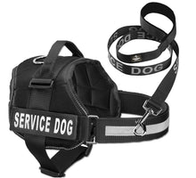 "Load image into Gallery viewer, Service Dog Vest Harness w/ 2 Reflective ""SERVICE DOG"" Patches PLUS a Matching Leash, Service Animal Vest & Leash Set by Industrial Puppy"