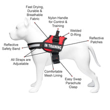 Load image into Gallery viewer, Service Dog in Training, Therapy Dog in Training Vest Harness with 2 Reflective IN TRAINING Velcro Patches, by Industrial Puppy