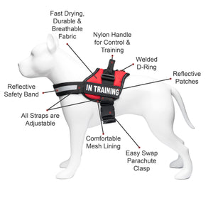 Service Dog in Training, Therapy Dog in Training Vest Harness with 2 Reflective IN TRAINING Velcro Patches, by Industrial Puppy