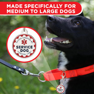 Industrial Puppy Service Dog Tag, 2 Pack: Metal Pet ID Tags for Service Animals, Emotional Support Dogs and Therapy Dogs, 1/1.25 Inch Diameter, Double Sided, Navy Lettering and Red Enamel Trim