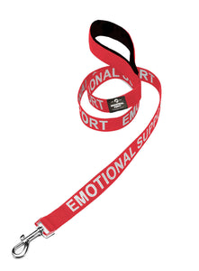 Service Dog Leash with Neoprene Handle and Reflective Silk-Screen Print in Red or Black, by Industrial Puppy