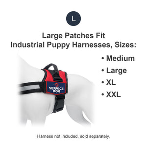 Industrial Puppy Embroidered Service Dog Patch with Hook and Loop Backing and Reflective Lettering - Quality Service Dog Embroidered Patches for Working Dog Harnesses - Set of 2 Service Dog Patches