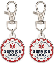 Load image into Gallery viewer, Industrial Puppy Service Dog Tag, 2 Pack: Metal Pet ID Tags for Service Animals, Emotional Support Dogs and Therapy Dogs, 1/1.25 Inch Diameter, Double Sided, Navy Lettering and Red Enamel Trim