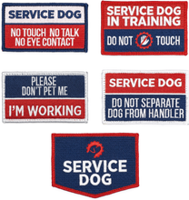 Load image into Gallery viewer, Industrial Puppy Embroidered Service Dog Patch Set of 5 Patches with Hook and Loop Backing - Service Dog Patches, Service Dog in Training Patch, Do Not Pet Patch, Do Not Separate, No Touch Patches