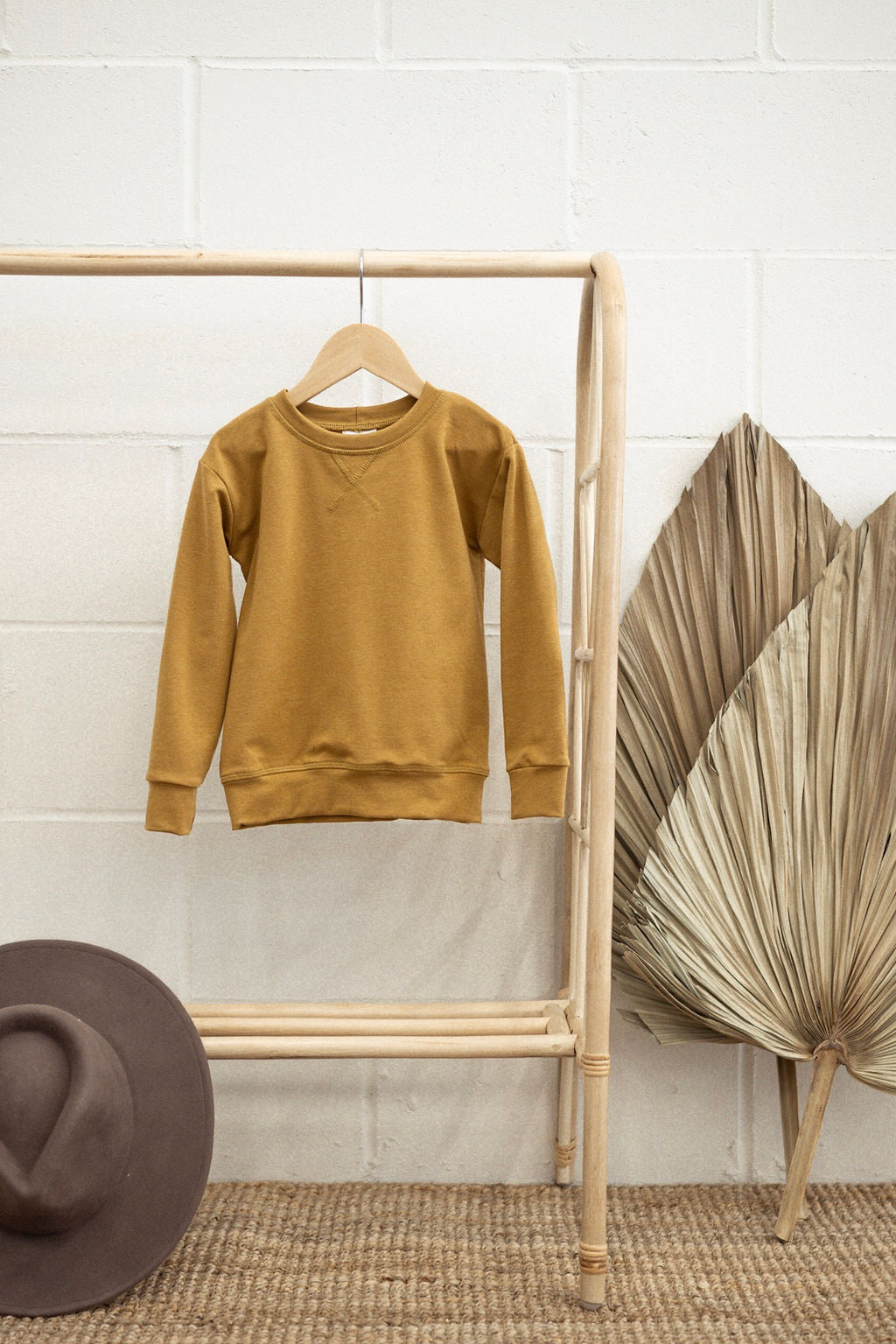 Mustard Terry crew neck sweater (Kids)