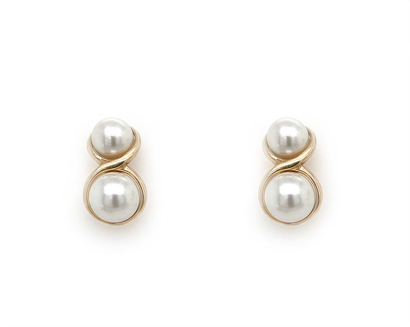 9ct Yellow Gold Double Pearl Studs