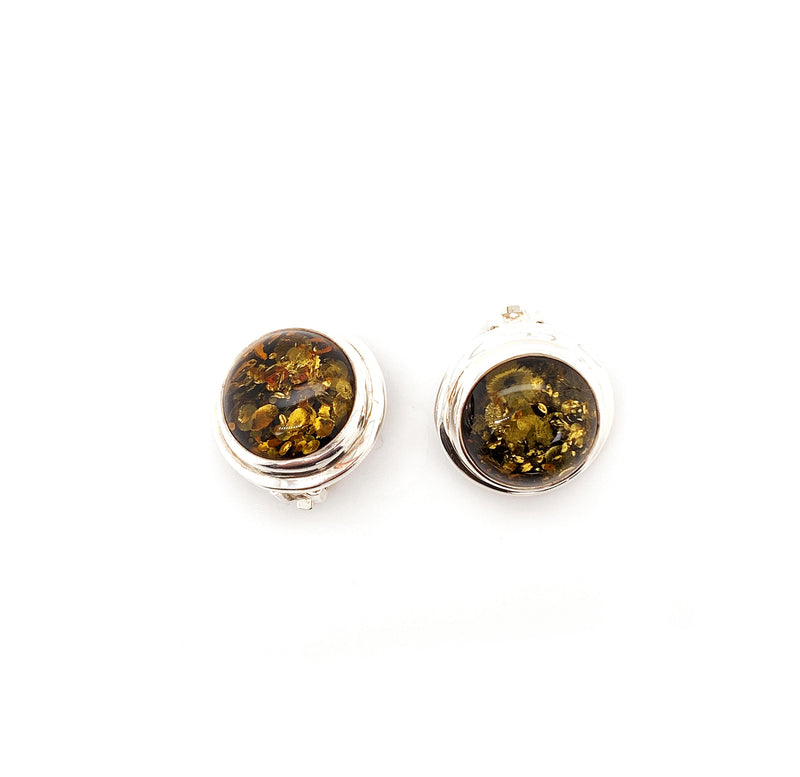 Green Baltic Amber Clip Earrings