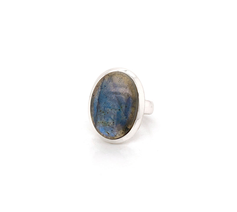 Silver Large Labradorite Ring