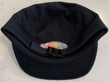 Load image into Gallery viewer, CalM Black 6-Panel Strapback Hat