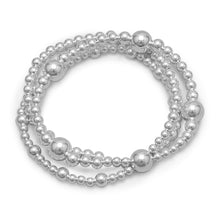 "Load image into Gallery viewer, 8"" Triple Strand Silver Bead Bracelet"