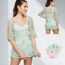 Load image into Gallery viewer, Sage Floral Crochet Top
