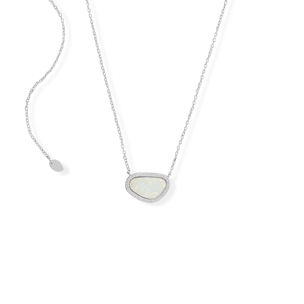 Adjustable Rhodium Plated Synthetic Opal and CZ Necklace