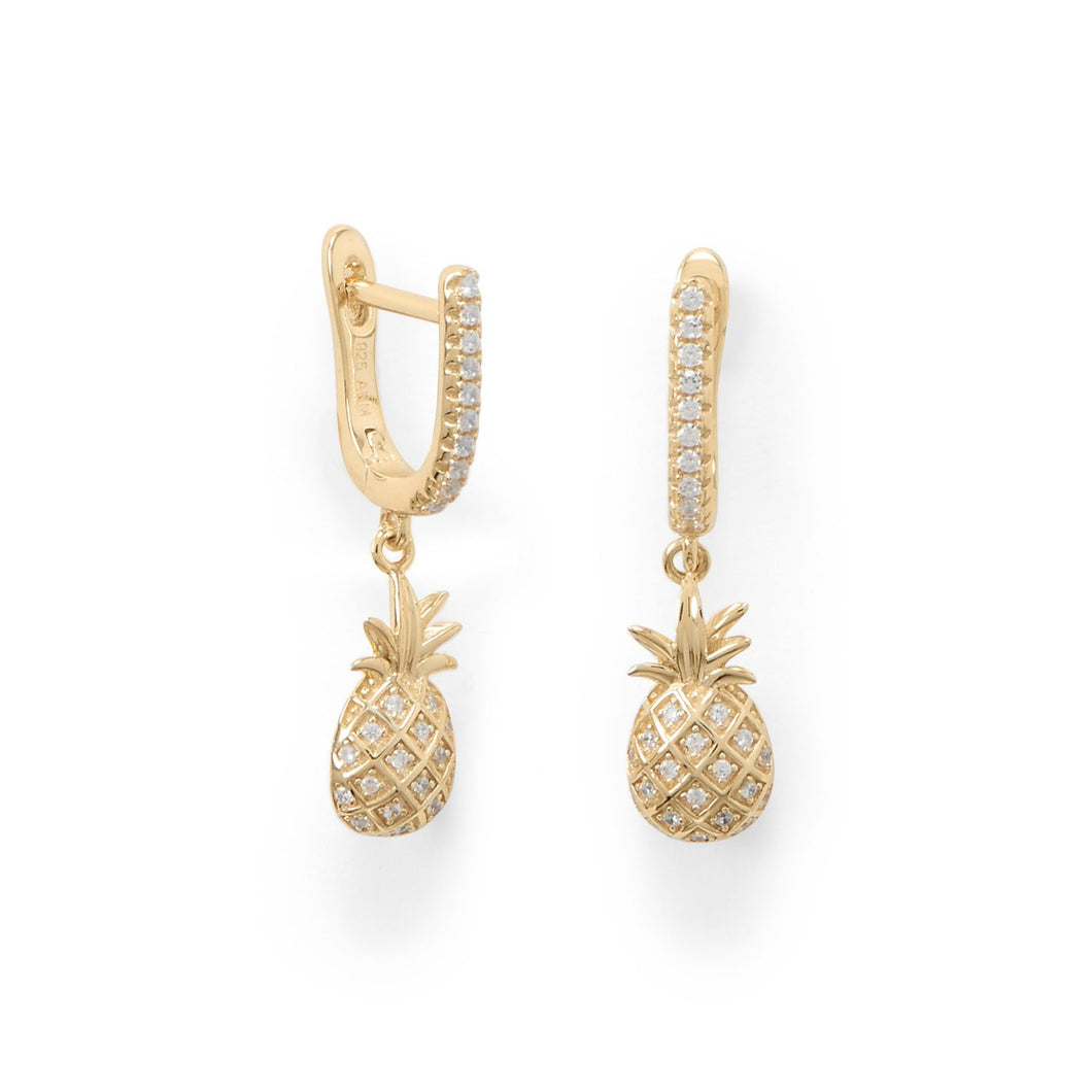 Sweetness! Gold Plated Pineapple Earrings