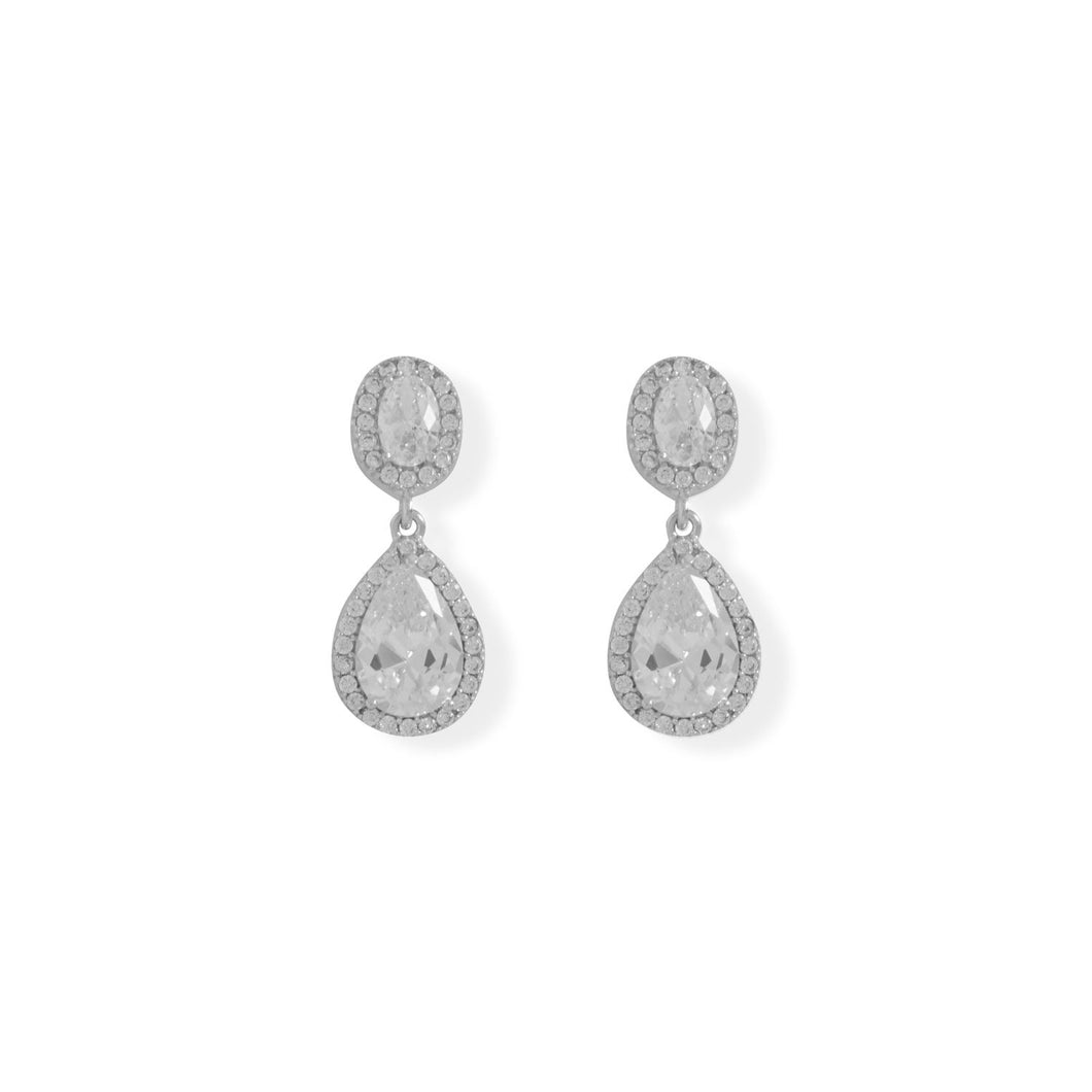 Rhodium Plated Oval and Pear CZ Drop Earrings