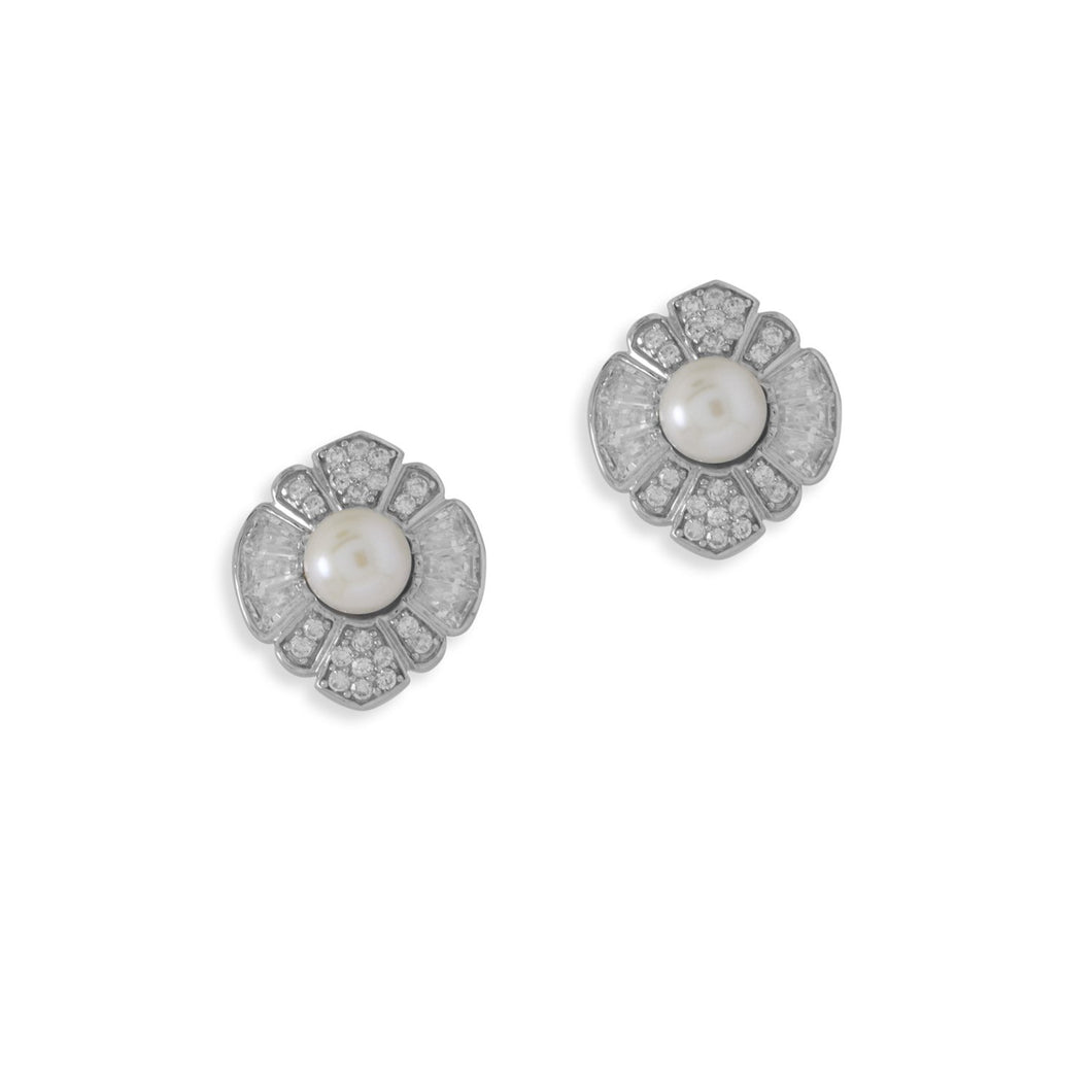 Rhodium Plated CZ and Cultured Freshwater Pearl Flower Earrings