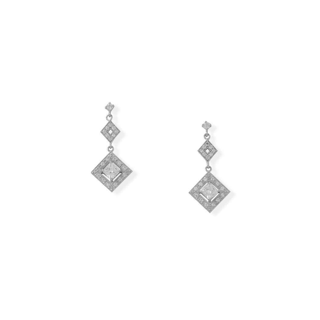 Rhodium Plated CZ Diamond Shaped Drop Earrings