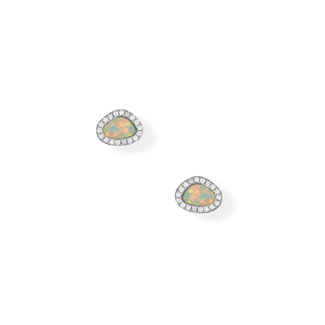 Rhodium Plated Synthetic Opal and CZ Earrings