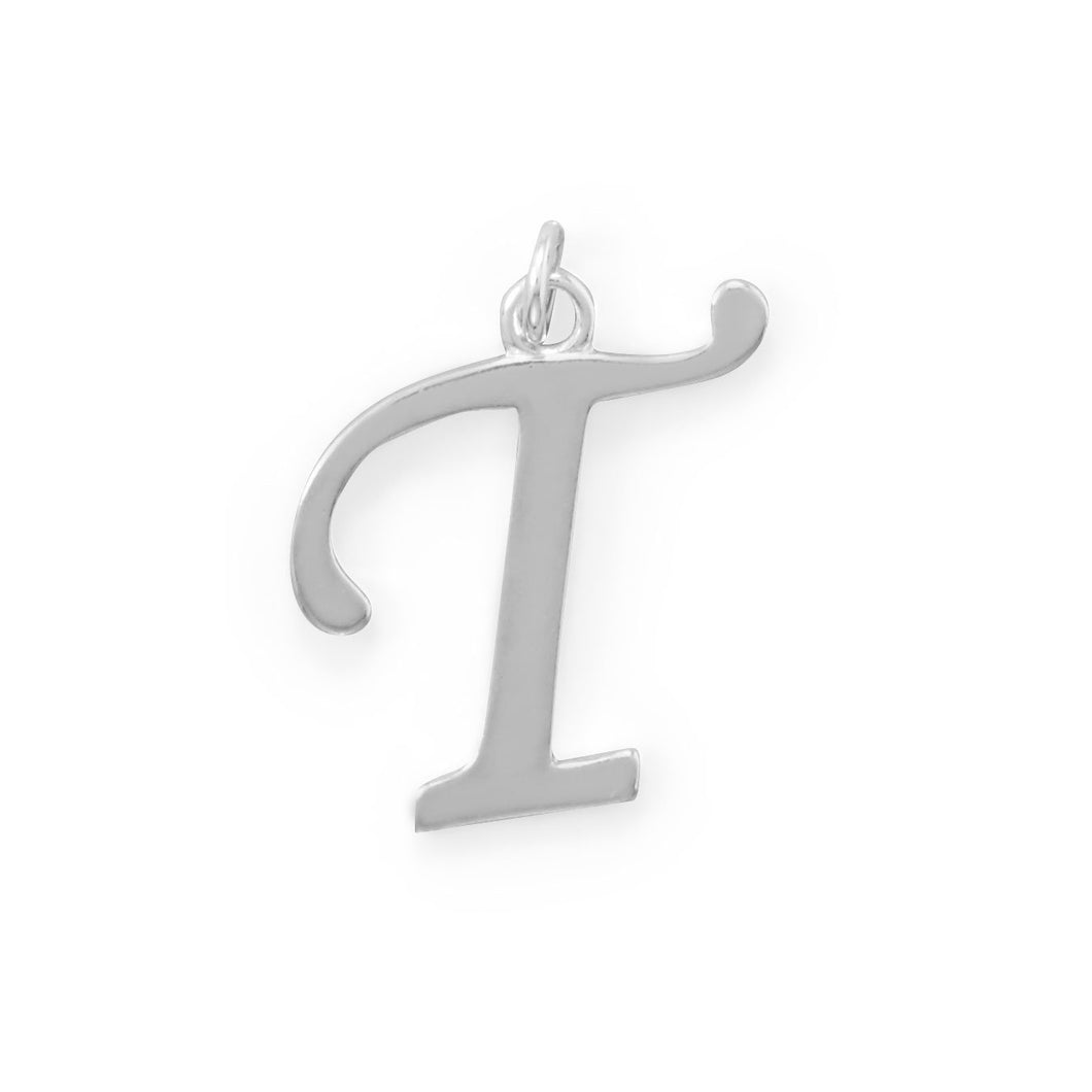 Polished Letter T Initial Pendant